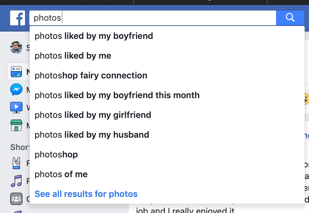 Screenshot of suggested Facebook searches after the word 'Photo'. They include: photos liked by my boyfriend, photos liked by my husband
