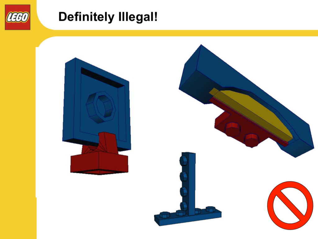 Screenshot of internal LEGO manual demonstrating an illegal way to connect two brick plates.