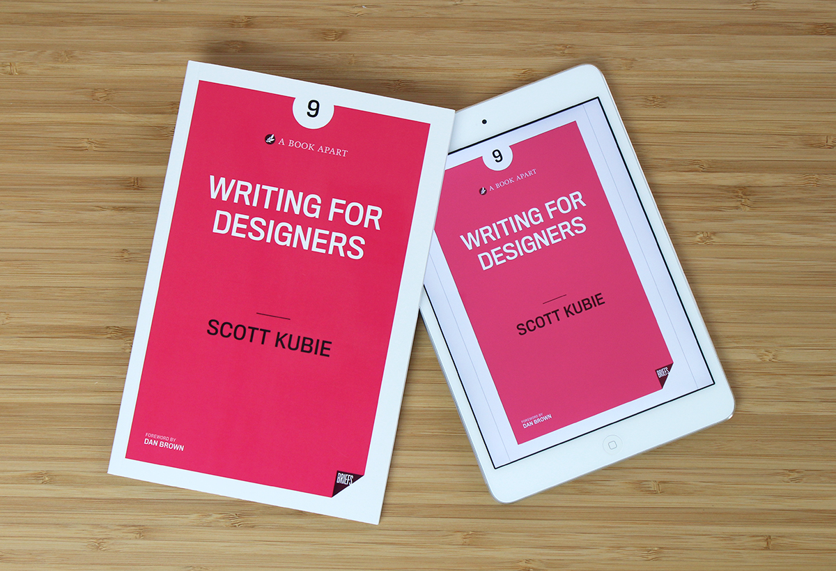 Photograph of print and digital editions of Writing for Designers.