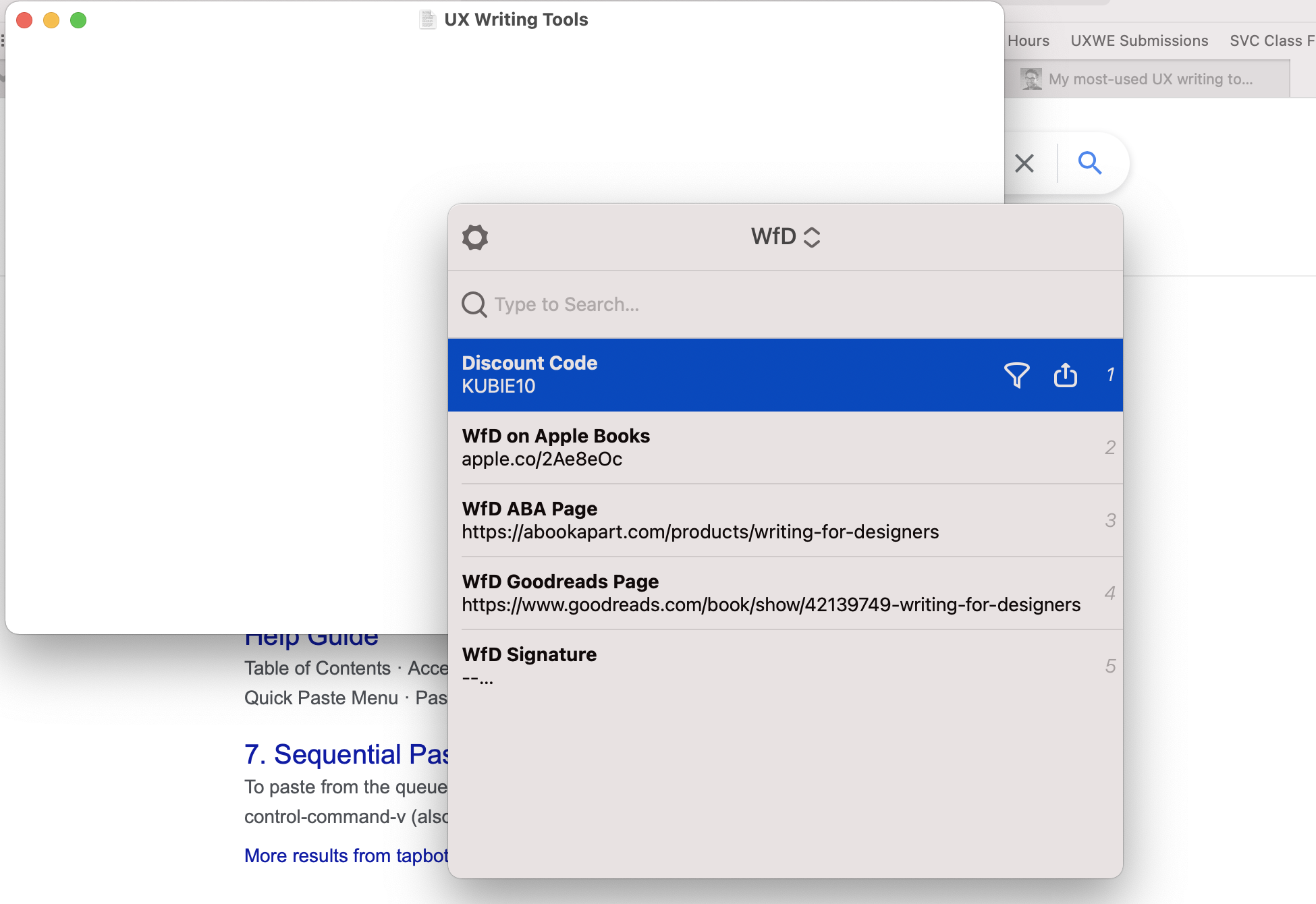 Screenshot of a clipboard manager window with several links related to my book to choose from.
